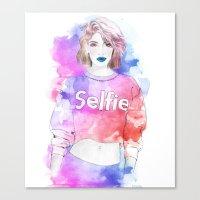 selfie Canvas Prints featuring Selfie by Sara Eshak