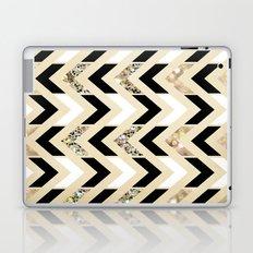 Black, White & Gold Glitter Herringbone Chevron on Nude Cream Laptop & iPad Skin