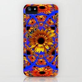 GOLD SUNFLOWERS & ROYAL BLUE PATTERN ART iPhone Case