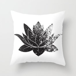 Boho - black and white lotus Throw Pillow