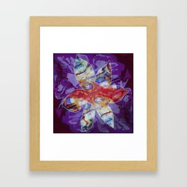 Bright Abstract Flower; Purple, Lavender and Maroon Background; Fluid Abstract 55 Framed Art Print