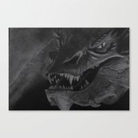 smaug Canvas Prints featuring Smaug by Rebecca D