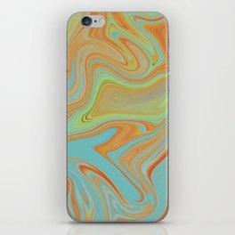 Mineral blue and orange marble iPhone Skin