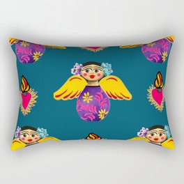Angels and Corazones (flaming hearts) Rectangular Pillow