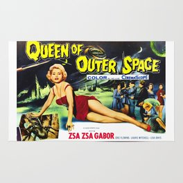 Queen of Outer Space, vintage sci-fi movie poster Rug
