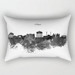 Athens Black and White Skyline Rectangular Pillow