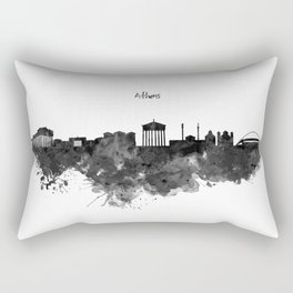 Athens Black and White Skyline Rectangular Pillow