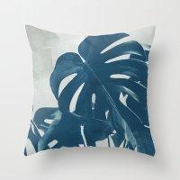 Blue Monstera #2 Throw Pillow