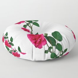 PATTERNED DECORATIVE RED ROSES  WHITE ART Floor Pillow