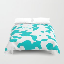 Large Spots - White and Cyan Duvet Cover