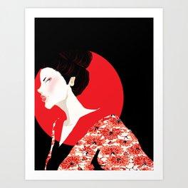 Geisha Girl In Black Art Print