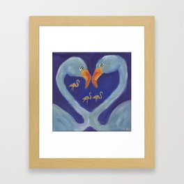 Flamingo heart Framed Art Print