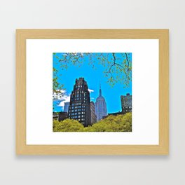 Bryant Park Hotel with Empire State Building - NYC Framed Art Print