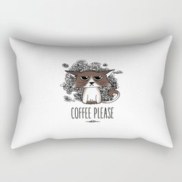 Grumpycat needs his coffee Rectangular Pillow