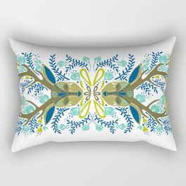 Floral Antlers – Earth Tones Palette Rectangular Pillow