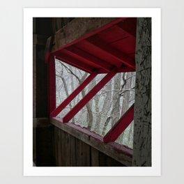 Snowfall Outside a Covered Bridge Art Print