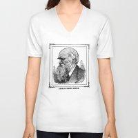 darwin V-neck T-shirts featuring Charles Robert Darwin by Bramble & Posy