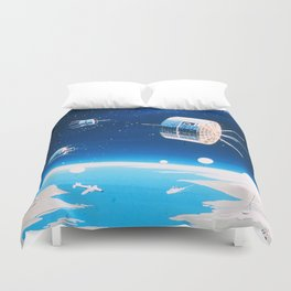 Retro space rocket and satellite vintage sci fi NOAA space and stars illustration drawing Duvet Cover