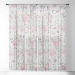 Elegant blush pink white vintage rose floral Sheer Curtain