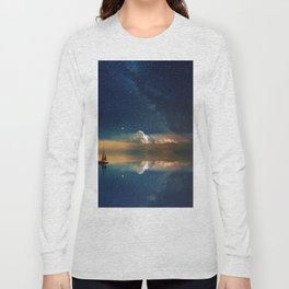 Sailboat in Space (Color) Long Sleeve T-shirt