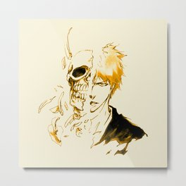 Ichigo Kurosaki GOld Skull Metal Print