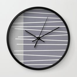 Mid century modern textured gray stripes Wall Clock