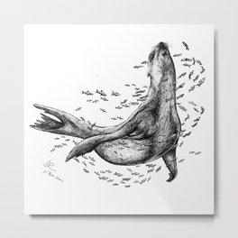 Seal and Fish Metal Print