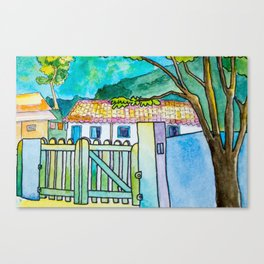 Green gate and the neighbors Canvas Print