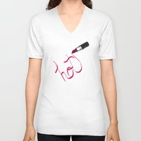 lipstick V-neck T-shirts featuring Lipstick by Addison Karl