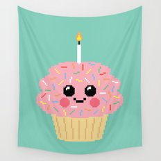 Happy Pixel Cupcake Wall Tapestry