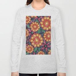Retro Oil Flowers on Teal Green Long Sleeve T-shirt