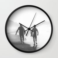 bond Wall Clocks featuring Surfers bond by Miguel Santos