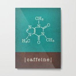 Caffeine molecule in teal and brown Metal Print