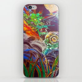 """""""The Aged and Wise Old Dragon Conquers some Orbs."""" iPhone Skin"""