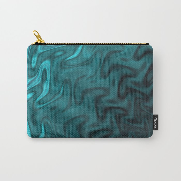 Ripples Fractal in Ocean Blue Carry-All Pouch