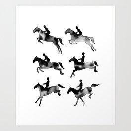 Watercolor Showjumping Horses (Black) Art Print