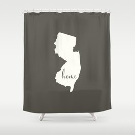 New Jersey is Home - White on Charcoal Shower Curtain