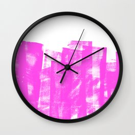 Rolled Ink Texture in Bright Pink and White Wall Clock