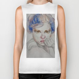 The girl in blue, mixed media drawing Biker Tank