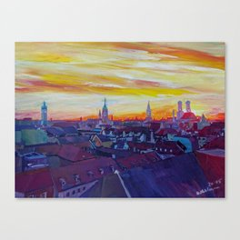 Munich Skyline with Burning Sky at Sunset Canvas Print