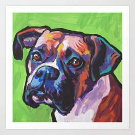 Fun BOXER Dog bright colorful Pop Art Painting by Lea Art Print