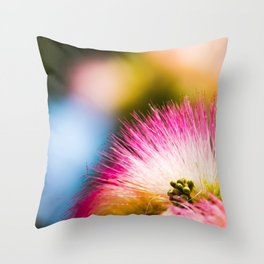 Exotic summer pink silk tree mimosa flower Throw Pillow