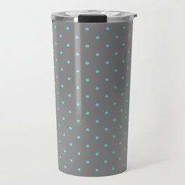 Little Dots Aqua on Gray Travel Mug