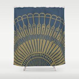Fan, gold on navy Shower Curtain