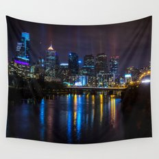 Philly Skyline Glowing Wall Tapestry