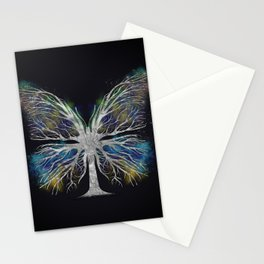 Butterfly Tree - Silver Color Mist Stationery Cards