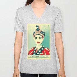 """Hmong Woman (original, full color) """"Peb Cov Neeg Txawj Sib Pab"""" Unisex V-Neck"""