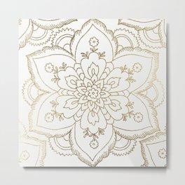 Chic elegant white faux gold spiritual floral mandala Metal Print