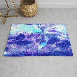 Swirling Marble in Aqua, Purple & Royal Blue Rug