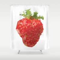 strawberry Shower Curtains featuring Strawberry by Bidonville